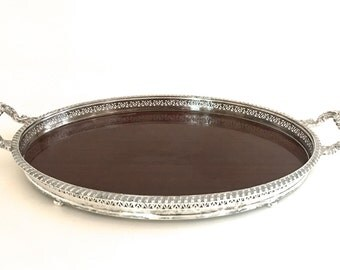 Vintage silver plate tray/ bar tray / serving tray