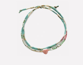 Bracelet with Liberty and Little heart in pink mother-of-pearl