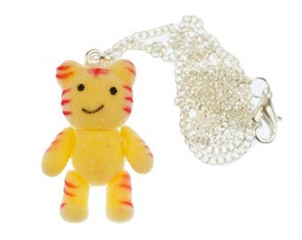 Miniblings Tiger Necklace 45cm Silver Cartoon Character Cat Velvety Flock Yellow A7rfbFYe8