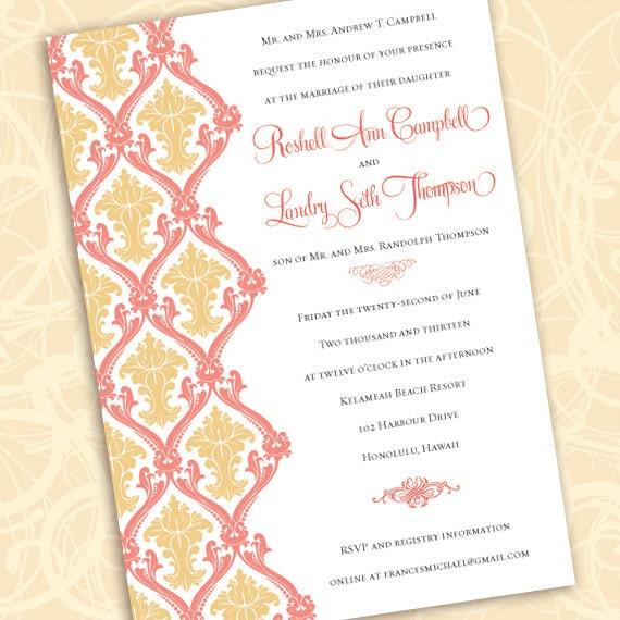wedding invitations, coral and gold wedding invitations, bridal shower invitations, coral bridal shower invitations, gold bride, IN505