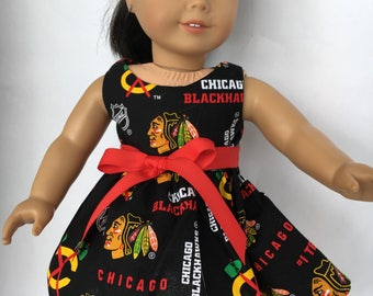 18 inch doll dress made of Chicago Blackhawks fabric, made to fit 18 inch dolls such as American Girl dolls and similar size dolls