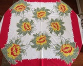 Tropical Hawaiian Floral Tablecloth - Red Yellow Protea Flowers - Vintage Table Linens - Spring Summer Table Decor - Collectible - Gift