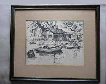 """Vintage 1940's Two Lionel Barrymore Framed Print Etching on Paper """"The Old Boat Works"""" & """"Pleasant Point"""" Boat Print Nautical Art"""