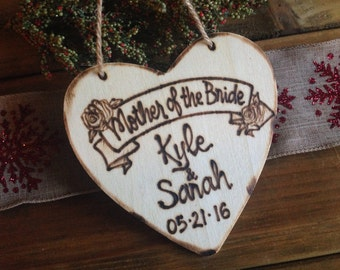Mother of the Bride Ornament Gift or Mother of the Groom Parents Personalized with Bride and Groom's Names and Wedding Date Thank You Gift