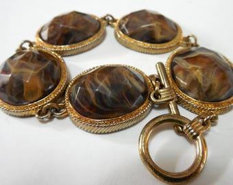 Vintage Bracelet, Brown Swirl Faceted Lucite Bracelet, Vintage Jewelry, Vintage Lucite Bracelets, Costume Jewelry, Bracelets, Link Bracelet
