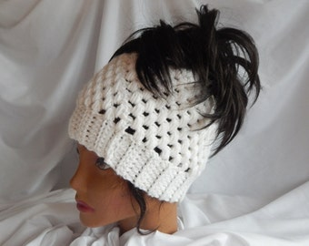 Messy Bun Hat Pony Tail Hat - Crochet Woman's Fashion Hat - White