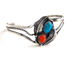 Turquoise Red Coral Cuff Bracelet Vintage Southwestern Sterling Silver Size 5 .5 Small Medium Boho Jewelry