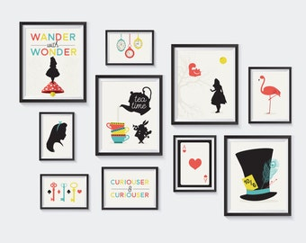 Alice in Wonderland Printable, Nursery Printables, Gallery Wall, Kids Decor, Mad Hatter, Cheshire Cat, Literary Silhouette, INSTANT DOWNLOAD