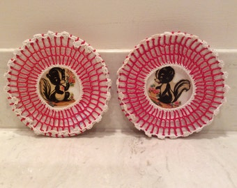 1950s Vintage Red Crocheted Covered White Plates With Cute Skunk Decals , Vintage Decorative Plates, Children's Room Wall Decor