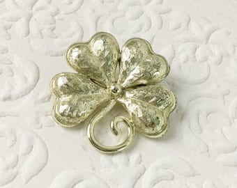 Shamrock Pin, Gold St. Patrick's Day Lapel Pin, Brooch, Large Clover, 4 Leaf Clover, Lucky You, Luck of the Irish Ireland, Textured, Vintage