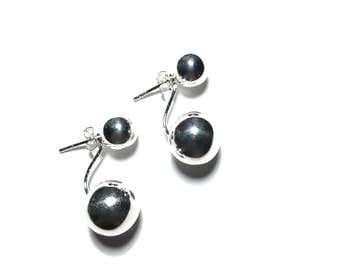 Sterling Silver Ball ear jacket earrings Sterng silver made for resale.