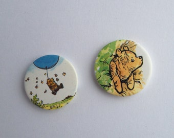 Winnie the Pooh Pinback Buttons set of 2 1980's