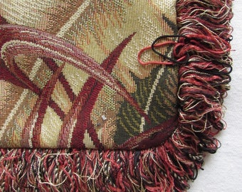 Fringed Pillow Tapestry, wines and tans Pillow Cover