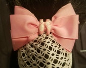 Pink Ballet Bow with White Net Snood