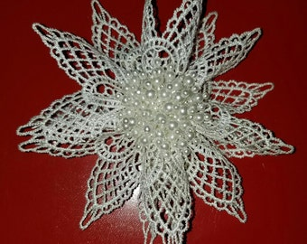 White Venice Lace Fascinator attached to an Automatic Open Barrette