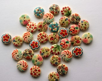 Flower Buttons - Wood - 10 Count