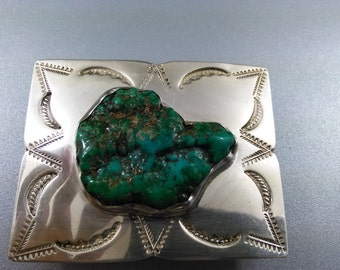 Sterling Handmade Native American Style Turquoise Belt Buckle