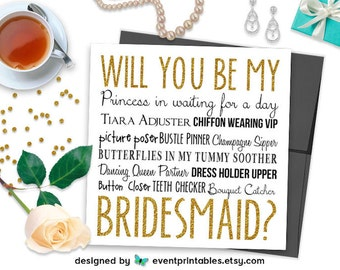 Will You Be My Bridesmaid Card, Gold Glitter Fun Bridesmaid Proposal Card, Princess in Waiting, PRINTABLE DIGITAL FILE by Event Printables