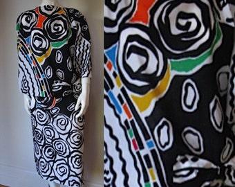 Vintage 1980s Elizabeth Arden Pop Art Print Abstract Floral Cotton 2 Piece Dress Set -Skirt & Top