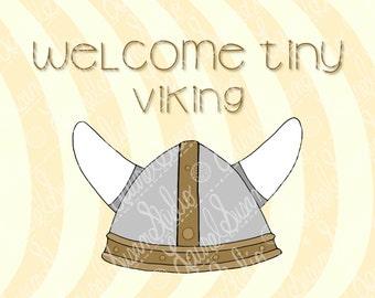 Viking Helmet Nursery Art Print, 8x10, New Baby, Welcome Tiny Viking, Neutral Nursery, Gray Brown, Wall Art