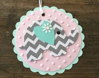 Elephant Baby Tags - Baby Girl Elephant Tags - Pink Gray Teal - Baby Shower Favor Tag - Elephant Party