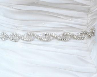 SALE Wedding Belt, Bridal Belt, Sash Belt, Crystal Rhinestone Sash  , seed beads sash belt