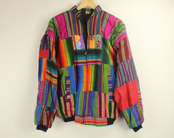 Vintage GUATEMALAN JACKET Coat Bomber Rainbow Colorful Ethnic Tribal Boho Indie Festival Embroidered Made in Guatemala Size XL