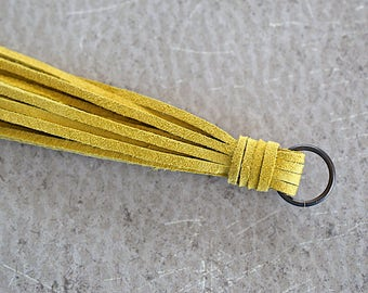 Mustard Yellow Suede Lace Tassel -140 mm- Pendant Handmade Accessorie - 1 Piece