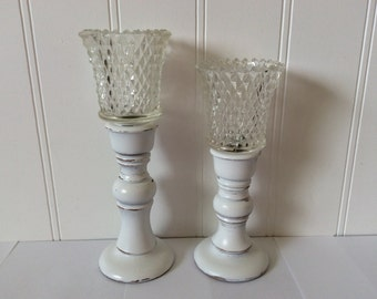 Pair White Candlesticks - Wood - Painted Distressed - Glass Votives - Shabby Cottage Decor - Rustic Farmhouse - French Cottage - Dining Room