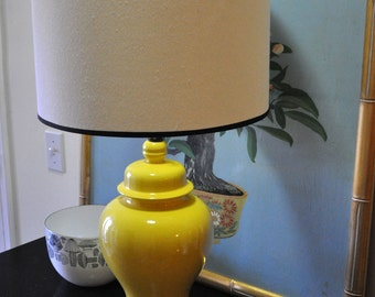 Vintage Yellow Chinoiserie Ginger Ceramic Jar Lamp