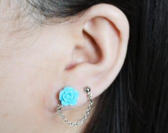 Blue Rose Cartilage Earrings (Pair)