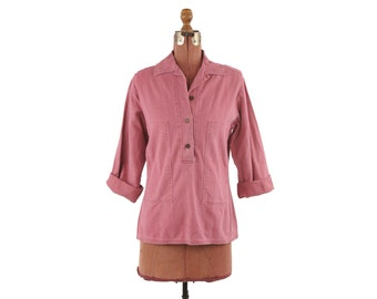 Vintage 1970's Pink Cotton Twill Denim Button Down Retro Workwear Smock Shirt Blouse Top M L