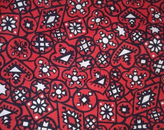 "Vintage fabric, 30's 40's 50's, red, black, white, looks like cowboy shirt fabric, geometric, snowflakes? 3 yds 14"" x 36"", great shape"