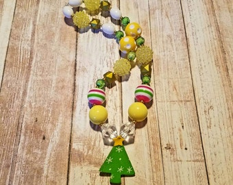 Chunky bead Necklace, yellow Necklace, Christmas Tree Necklace,  Christmas Necklace, bubblegum necklace