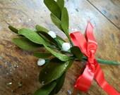 Mistletoe - Custom made - paper mistletoe with satin bow - ready to hang