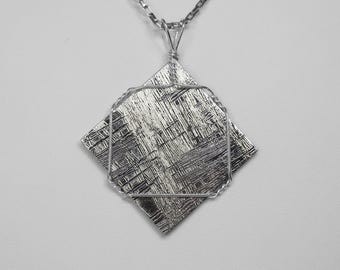 Swedish, Muonionalusta Meteorite Pendant in Silver