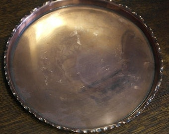 antique copper round drinks serving tray