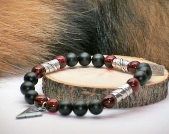 Bracelet pour homme //onyx noir//grenat//pointe de flèche// étain // men braclet// arrow head// black onyx//native