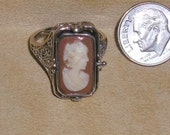 Vintage Sterling Silver Day And Night Reversible Finger Filigree Ring With Real Carved Shell Cameo And Onyx Size 8 Signed Jewelry 2053