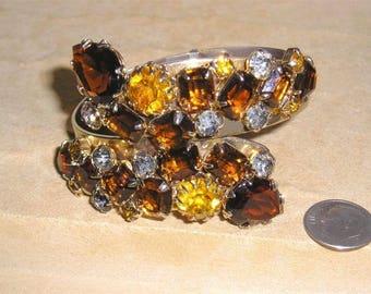 Vintage Large Multicolored Rhinestone Bracelet Prong Set Hinged 1950's Jewelry h55