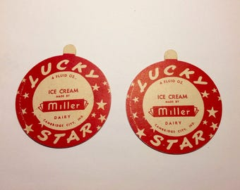 Lucky Star Ice Cream Dairy Lid 2 Unused Miller Dairy, Cambridge City, IN Vintage