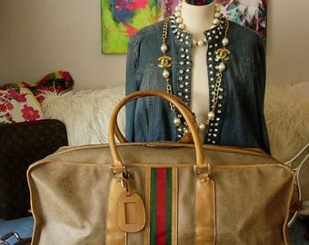 Ultra Rare Vintage GUCCI XL Brown GG Keepall Luggage Travel Suitcase Tote Gym Bag Carry on