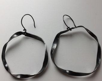 Twisted oxidized sterling earrings