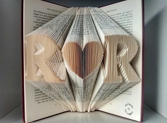Wedding anniversary Gift-Initial Folded Book Art-wedding decor/gift ...