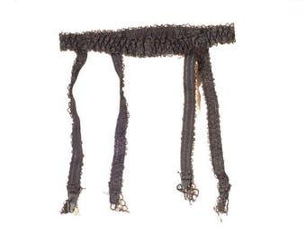 """Vintage 1970's Floral Lace Band Suspender, Garter Belt. Waist Circumference: 20 - 26"""""""