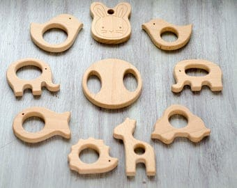 Wooden Teethers for toys or jewelry - Set of 10