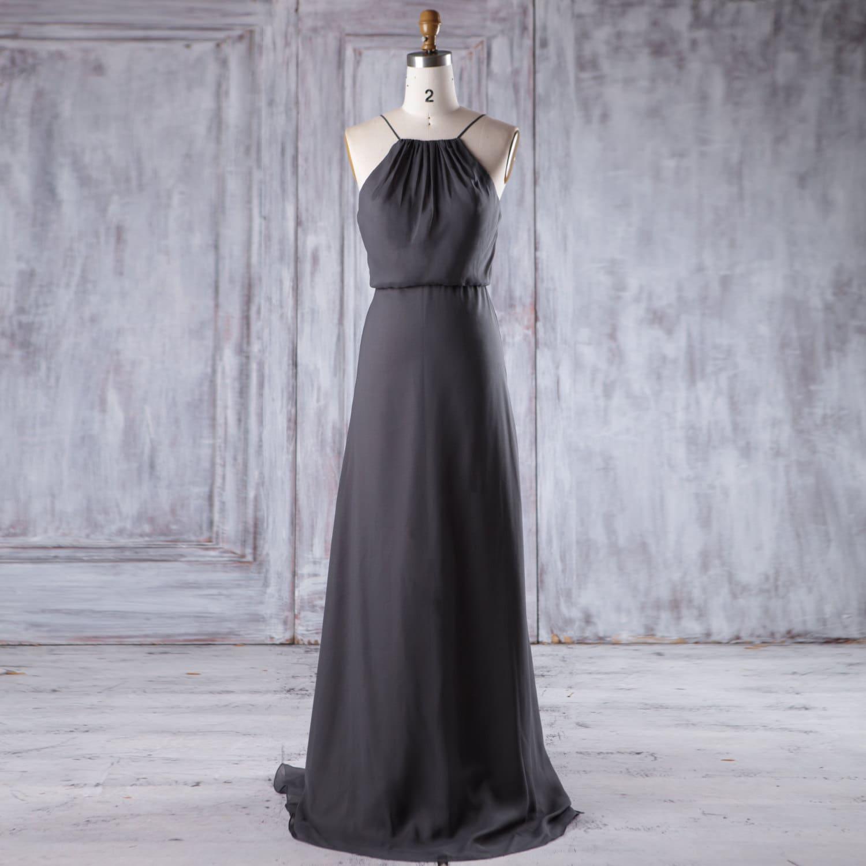 2017 Charcoal Gray Chiffon Bridesmaid Dress Long Spaghetti