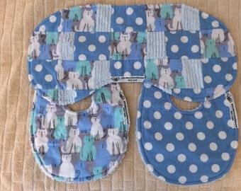 bitsybasics blue cats and dots burp cloth and bibs