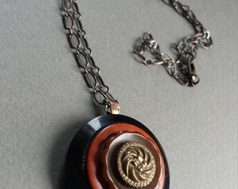 Vintage button Necklace- Evening Song