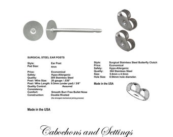 144  x 4mm Pad Earring Stud Posts & back Made in USA 72 Pair Hypoallergenic Surgical Steel  - AUSTRALIA